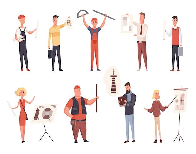 Costruttori e architetti impostati. personaggi professionali. ingegneri o lavoratori maschi e femmine. alcuni in caschi di sicurezza isolati su sfondo bianco. presentazione del progetto.