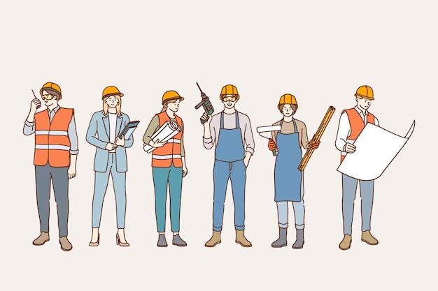 Illustrazione di concetto di industria edile e costruttori