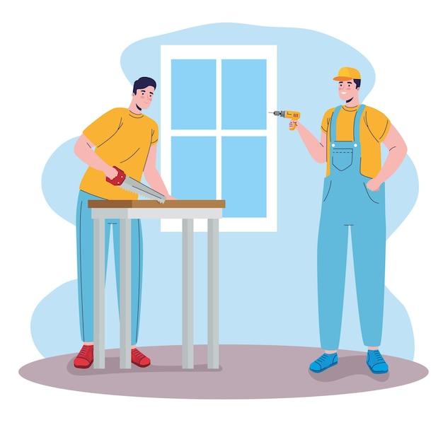 Costruttori costruttori uomini con sega a mano e personaggi trapano