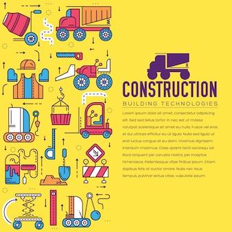 Costruttori che fanno lavoro e lavorano con il concetto di veicoli pesanti. lavoratori piatti in cantiere