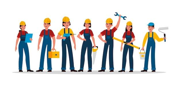 Gruppo costruttori. team di persone dell'industria delle costruzioni in casco e uniforme, ingegnere appaltatore, tecnico e costruttore, meccanico, maschio e femmina con caratteri vettoriali sega, martello e cazzuola
