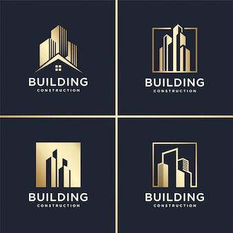 Edificio astratto logo set, dorato, moderno, concetto, gradiente, immobiliare, premium
