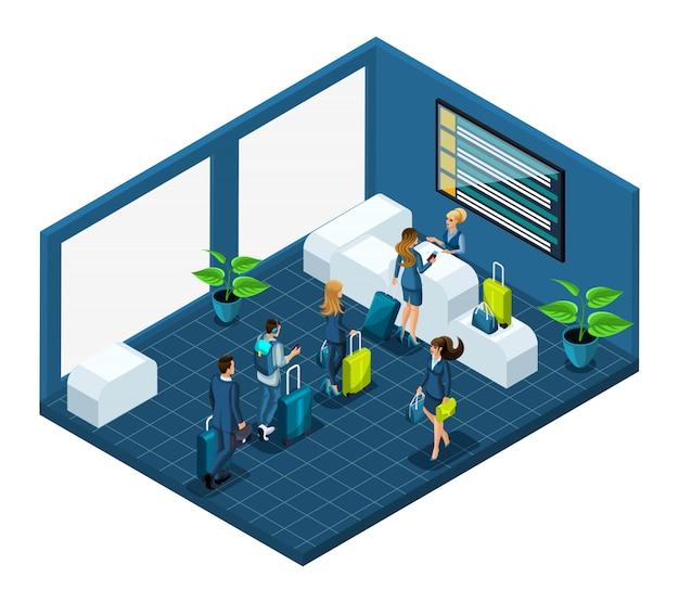Costruzione dei passeggeri dell'aeroporto con i bagagli, controllo del passaporto in una grande stanza luminosa, illustrazione con personaggi emotivi