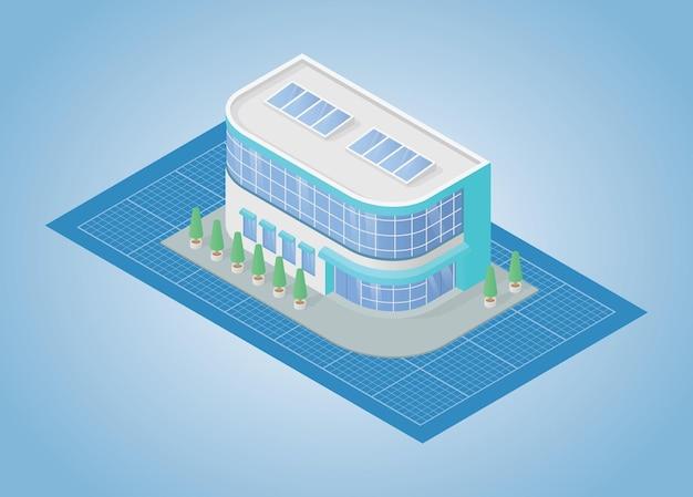 Concetto di progetto di costruzione con illustrazione vettoriale di stile isometrico moderno