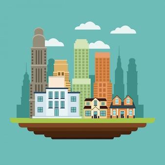 Costruzione stile urbano di grattacieli di edifici residenziali casa di college