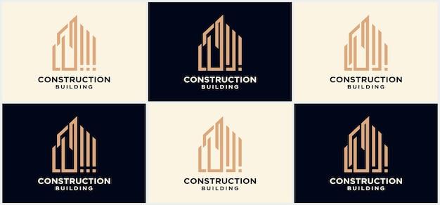 Progettazione del logo della costruzione di edifici, logo aziendale della progettazione della costruzione di edifici. logo della costruzione della città, modello di vettore del logo del grattacielo