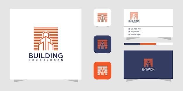 Progettazione di logo di costruzione di edifici e biglietto da visita.