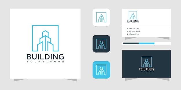 Ispirazione per il design del logo della costruzione di edifici. design del logo e biglietto da visita.
