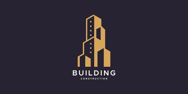 Ispirazione per il design del logo della costruzione di edifici.