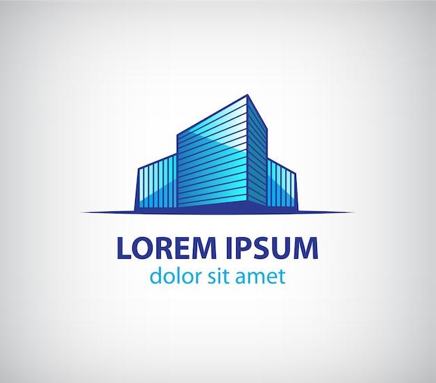 Logo della costruzione di edifici isolato su grigio