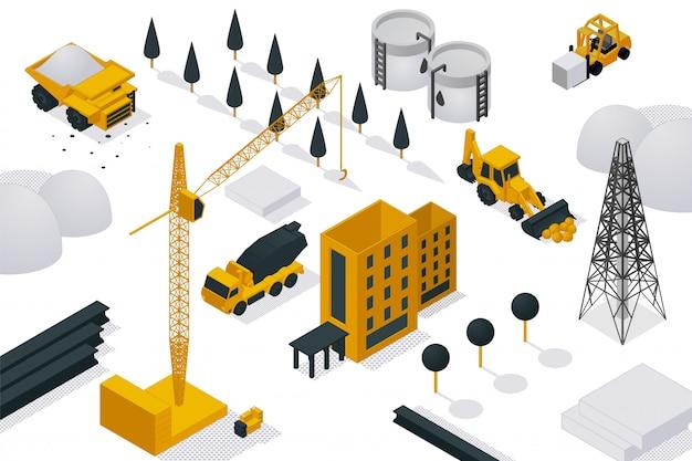 Processo di costruzione di edifici, illustrazione isometrica. attrezzatura pesante, gru e macchina sull'oggetto del cantiere.