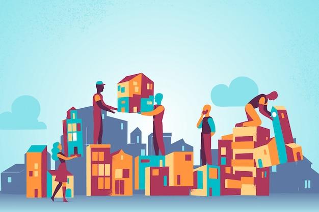 Costruire in costruzione con operai in silhouette e skyline