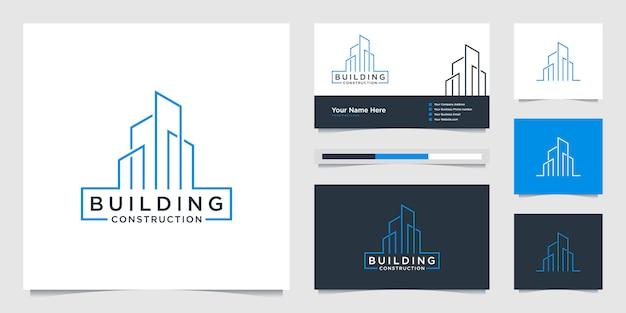 Creazione di loghi di design con linee. costruzione, appartamento e architetto.