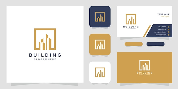 Loghi di progettazione di edifici con linee. costruzione, appartamento, edificio della città e architetto.