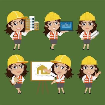 Ingegnere edile con diverse pose