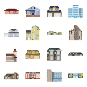 Edificio e icona frontale. edificio da collezione e magazzino.