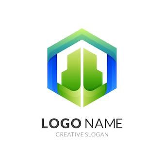 Costruire logo esagonale, edificio ed esagono, logo design logo combinato con stile colorato 3d