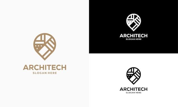 Building house point logo progetta vettore di concetto, icona di simbolo del modello di logo di costruzione, simbolo del logo immobiliare