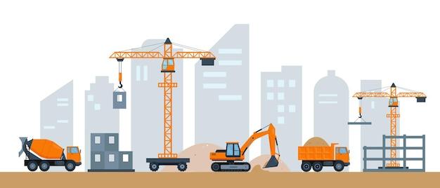 Costruzione di case in città moderna
