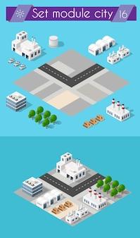 Costruzione del settore edile per isometrica di design piatto con paesaggio urbano e capannoni industriali