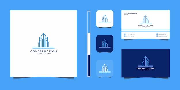 Edificio di ispirazione con logo in stile art line e biglietto da visita