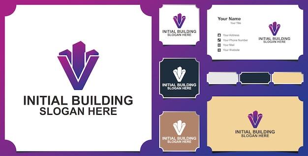 Edificio lettera v logo
