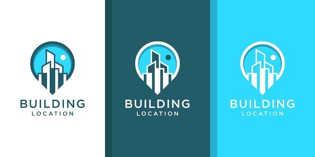 Insieme di ispirazione del logo di posizione dell'edificio