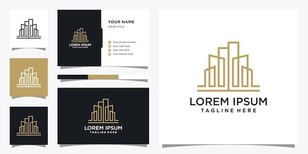 Modello di progettazione di logo di edificio con biglietto da visita.
