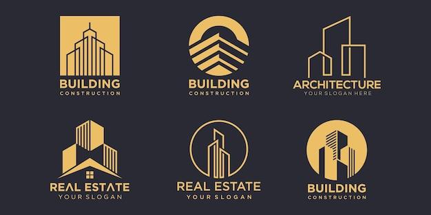 Insieme dell'icona di edificio logo. modello di disegno vettoriale. astratto della costruzione della città per l'ispirazione di logo design.