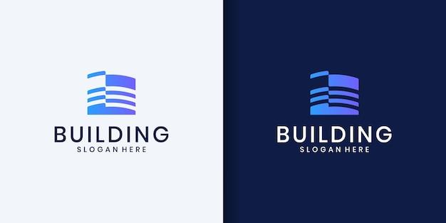 Modello di disegno vettoriale logo edificio building