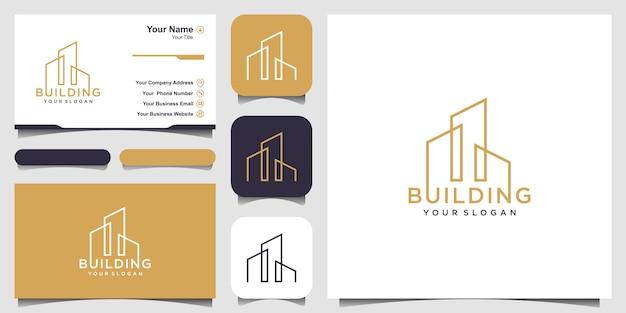 Logo della costruzione con il concetto di linea arte. città edificio astratto per logo inspiration. progettazione di biglietti da visita