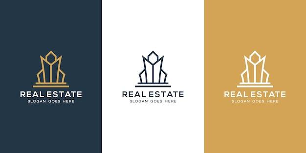 Logo di costruzione con stile di arte di linea. astratto della costruzione della città per l'ispirazione del design del logo e il design del biglietto da visita