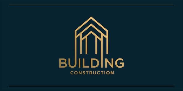 Logo della costruzione con stile di arte moderna linea dorata e modello di progettazione di biglietti da visita