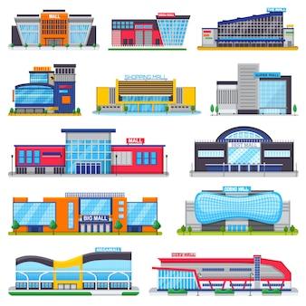Stanza frontale di negozio di vettore del centro commerciale della costruzione del centro commerciale di newbuild e dell'illustrazione della facciata del deposito