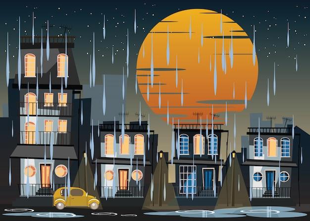 Costruzione di notte in illustrazione vettoriale giornata di pioggia
