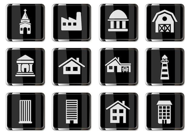 Pittogrammi di costruzione in pulsanti cromati neri. set di icone per il tuo design. icone vettoriali