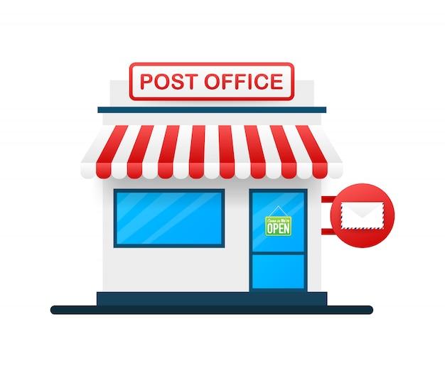 Costruzione dell'illustrazione dell'ufficio postale.