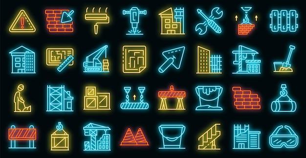 Set di icone di ricostruzione edificio. delineare l'insieme delle icone vettoriali per la ricostruzione degli edifici colore neon su nero