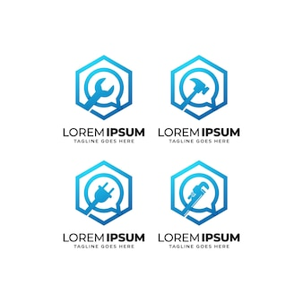 Collezione di design del logo del servizio di riparazione degli edifici