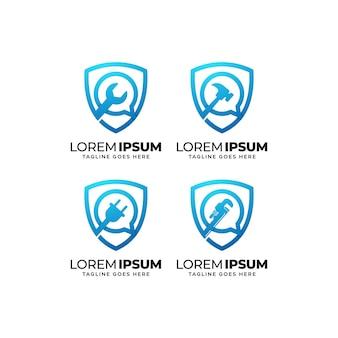 Set di design del logo del servizio di riparazione degli edifici