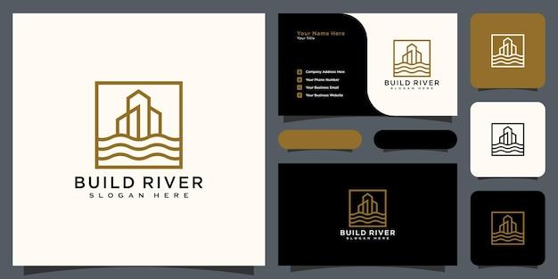 Costruire il vettore del logo del fiume con il design del biglietto da visita
