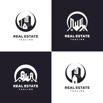 Progettazione del logo del set di edifici