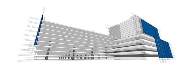 Illustrazione architettonica 3d di schizzo di edificio, linee di prospettiva della costruzione di architettura