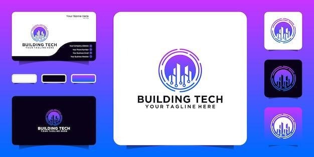 Ispirazione per il logo del design della tecnologia edilizia con linee di connessione rotanti e design di biglietti da visita