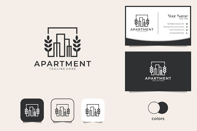 Edificio con design del logo foglia e biglietto da visita. buon uso per il logo dell'appartamento