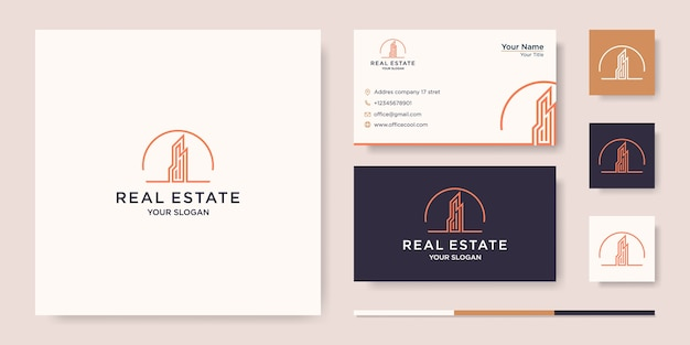Costruire con il concetto di linea. città edificio astratto per l'ispirazione del logo. disegno del biglietto da visita