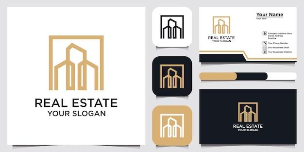 Edificio con design del logo di concetto di linea e biglietto da visita