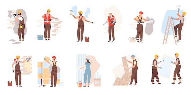 La persona del lavoratore della costruzione nella costruzione dei caschi costruisce, pone le mattonelle, i mattoni, il laminato, finestra di vetro su costruzione isolata su bianco.