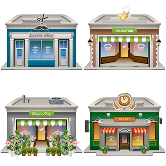 Edifici. negozio di barbiere, farmacia, negozio di fiori, panetteria. .