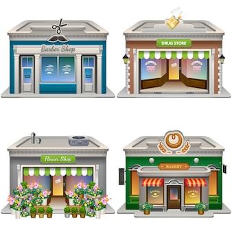 Edifici. negozio di barbiere, farmacia, negozio di fiori, panetteria.